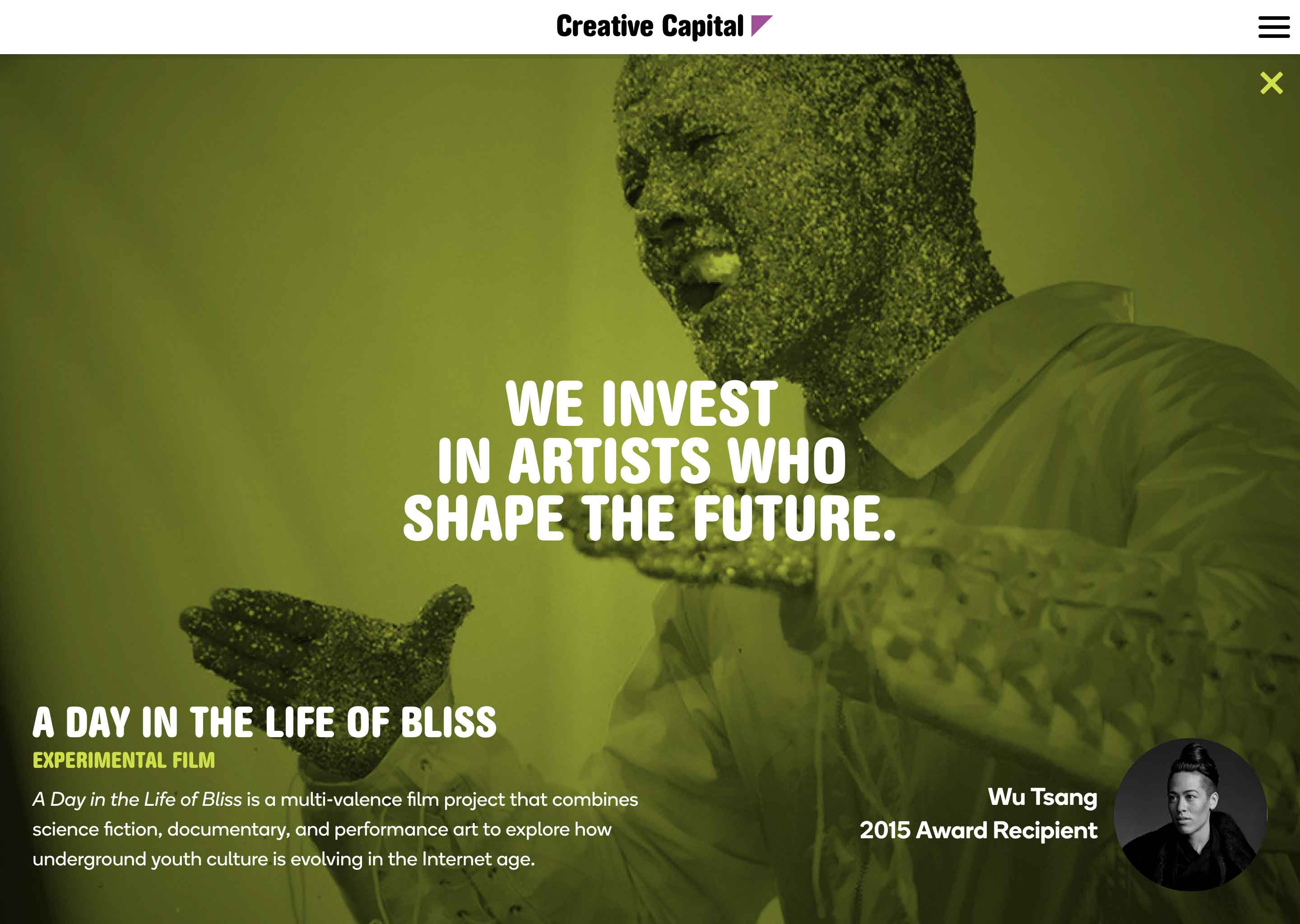 Screenshot of Creative Capital Application microsite