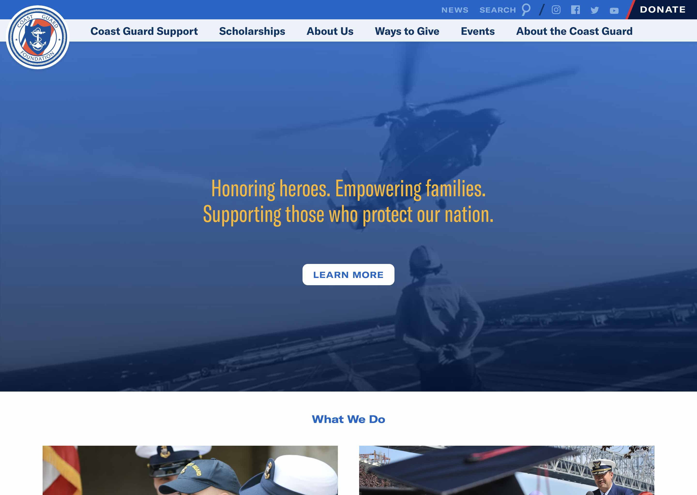 Screenshot of Coast Guard Foundation homepage